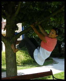 Me swinging from a tree