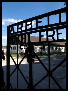 The entry gate into Dachau Concentration Camp