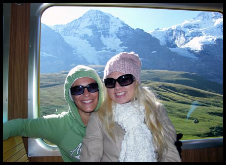 Mel and I on the cog railway going up to Jungfrau