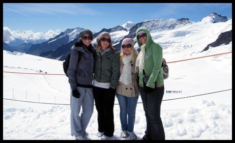 Jess, Jade, Mel and myself on Jungfrau in Switzerland