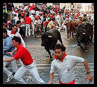 THE RUNNING OF THE BULLS IN SPAIN