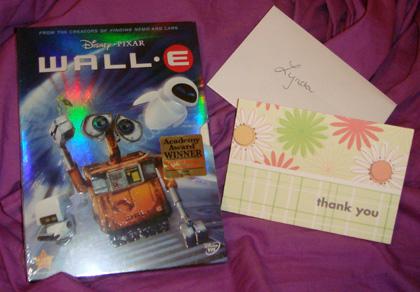 Wall-E and Thank You card from my manager :-)