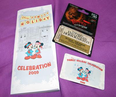 Disney Holiday Celebration 2009 card & Halloween Horror Nights ticket!