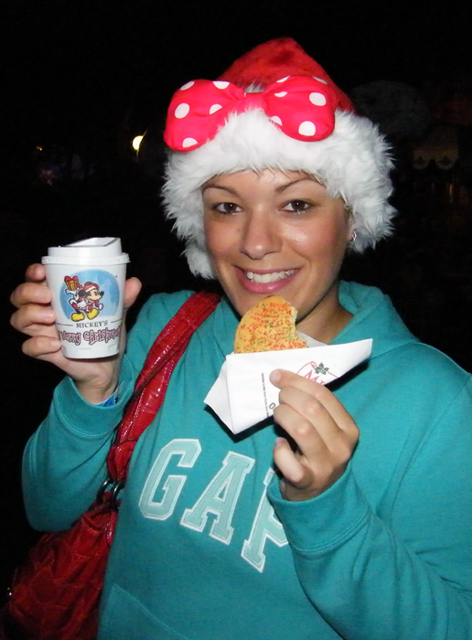 With my hot cocoa and cookies at Mickey's Very Merry Christmas Party!