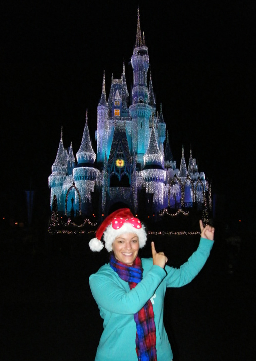 Me in front of Cinderella's Castle at Mickey's Very Merry Christmas Party - Magic Kingdom