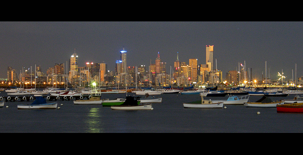 View of Melbourne from across the Bay in Williamstown - New Years Eve 2010