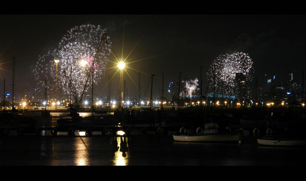 Melbourne New Years Fireworks - As viewed from across the Bay at Williamstown - Hello 2011