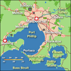 Melbourne-Geelong Map