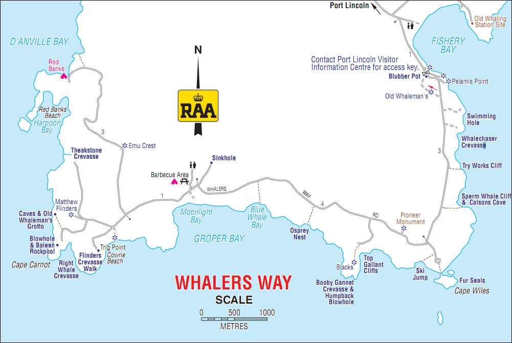 Whalers Way Map, South Australia