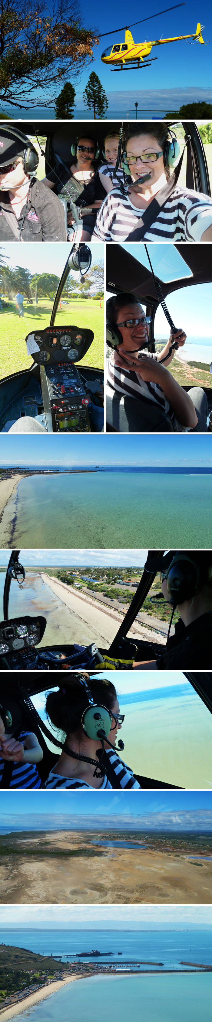 Flying over Whyalla beach in a helicopter!