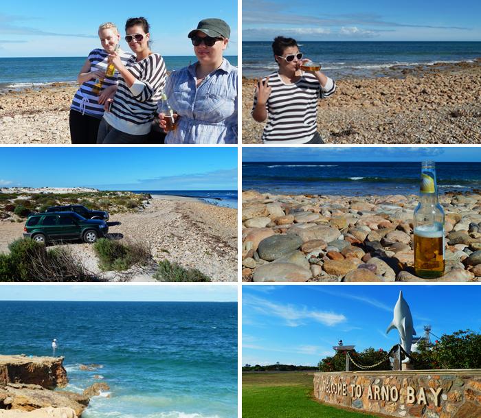 Enjoying a beer along Arno Bay, SA