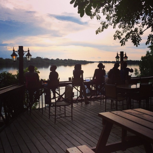 Restaurant and bar deck at Livingstone Campsite overlooking the Zambezi