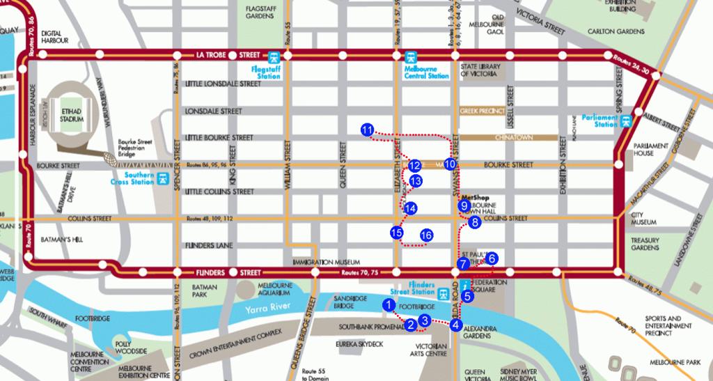Melbourne City Photo Tour Map