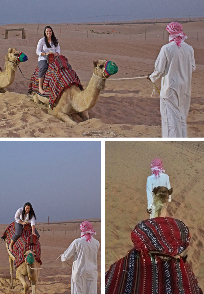 Riding a camel in the UAE